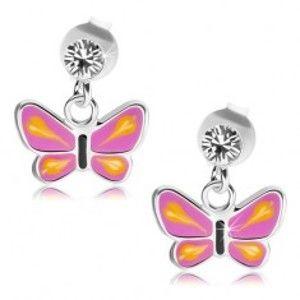 Šperky eshop - Strieborné náušnice 925, motýľ s fialovými krídlami, žlté slzičky, číry krištáľ PC21.15
