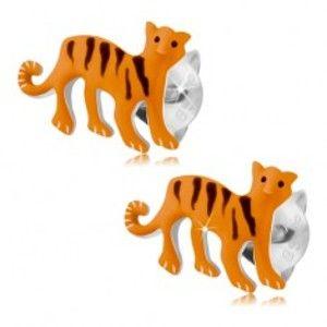 Šperky eshop - Strieborné náušnice 925, oranžový tiger s čiernymi pásikmi, puzetky PC21.09