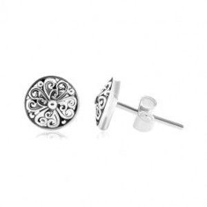 Šperky eshop - Strieborné náušnice 925, patinované kruhy s vyrezávanými ornamentmi SP83.06