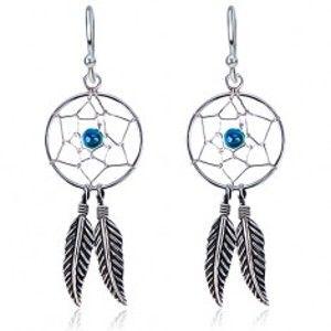 Šperky eshop - Strieborné náušnice 925 s okrúhlym lapačom snov, modrá gulička, pierka P1.5
