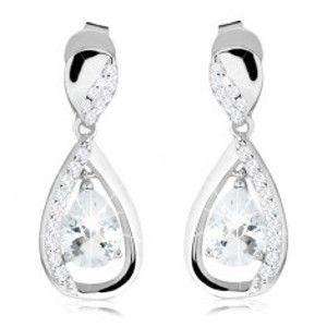 Šperky eshop - Strieborné náušnice 925, visiaca kontúra kvapky, čírý brúsený zirkón AC13.12