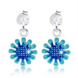 Šperky eshop - Strieborné náušnice 925, visiaci kvet v odtieňoch modrej farby, číry zirkón I38.16