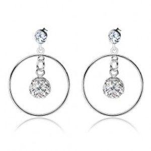 Šperky eshop - Strieborné náušnice 925, žiarivá guľôčka v kontúre kruhu, číre krištále Preciosa R25.8