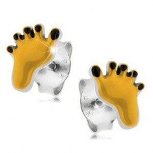 Šperky eshop - Strieborné náušnice 925, žltý odtlačok chodidla s čiernymi prstami PC11.02