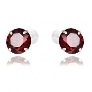Šperky eshop - Strieborné puzetové náušnice 925 - červené okrúhle zirkóny, 7 mm Y45.12