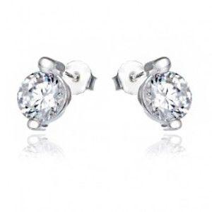 Šperky eshop - Strieborné puzetové náušnice 925 - okrúhly číry zirkón a kolíky X6.1