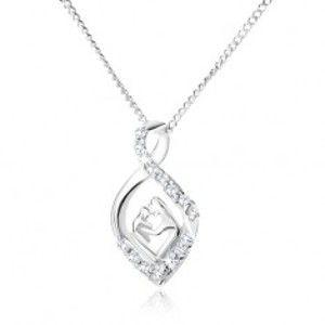 Šperky eshop - Strieborný 925 náhrdelník - retiazka a zatočená zirkónová slza, matka a dieťa V14.26