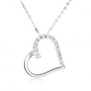 Šperky eshop - Strieborný 925 náhrdelník, retiazka a obrys súmerného srdca, číre kamienky SP02.07