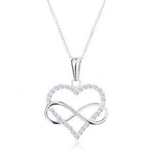 Šperky eshop - Strieborný 925 náhrdelník, zirkónový obrys srdca a symbol nekonečna AC16.14