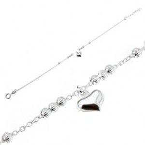 Šperky eshop - Strieborný 925 náramok - oválne očká, ozdobné guličky, súmerné srdce SP14.25