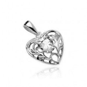 Šperky eshop - Strieborný 925 prívesok - srdce s čírym zirkónovým srdiečkom a ornamentami AC24.31