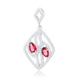 Šperky eshop - Strieborný 925 prívesok, kontúra kosoštvorca, číre zirkónové línie, ružové kvapky S25.11