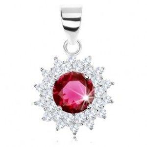 Šperky eshop - Strieborný 925 prívesok, trblietavý kvet, okrúhly červenofialový zirkón, číre lupene SP74.29