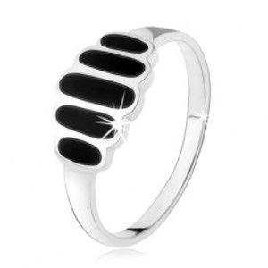 Šperky eshop - Strieborný 925 prsteň, čierne ónyxové ovály, hladké ramená, vysoký lesk HH5.10 - Veľkosť: 53 mm