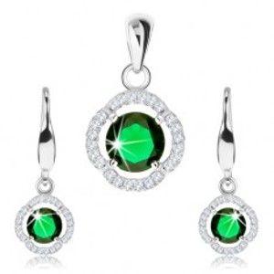 Šperky eshop - Strieborný 925 set, prívesok a náušnice, zelený zirkón, číry zvlnený lem SP91.20