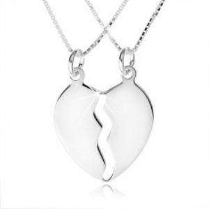 Šperky eshop - Strieborný náhrdelník 925, dve retiazky, dvojprívesok rozpoleného srdca SP45.09