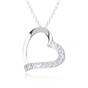 Šperky eshop - Strieborný náhrdelník 925, kontúra srdca, číre zirkóny na jednej polovici SP51.31