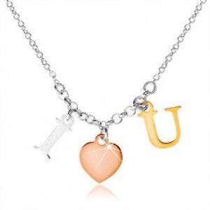 """Šperky eshop - Strieborný náhrdelník 925, nápis """"I LOVE U"""" v troch farebných odtieňoch SP46.02"""