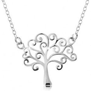 Šperky eshop - Strieborný náhrdelník 925, tenká retiazka a prívesok - lesklý strom života AC22.26