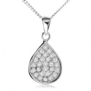 Šperky eshop - Strieborný náhrdelník 925, trblietavá zirkónová slza, retiazka SP60.30