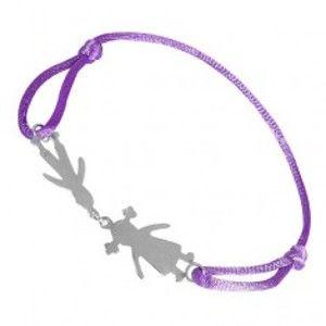 Šperky eshop - Strieborný náramok 925 - chlapec a dievča na fialovej šnúrke T20.15