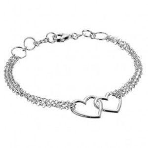 Šperky eshop - Strieborný náramok 925 - dve nepravidelné obrysové srdcia a trojitá retiazka X26.9