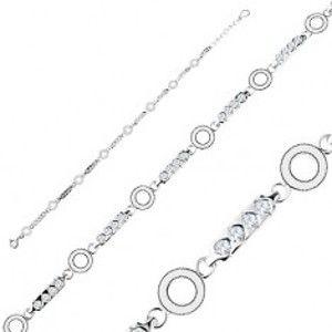 Šperky eshop - Strieborný náramok 925, podlhovasté články s čírymi zirkónmi, krúžky R36.31
