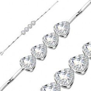 Šperky eshop - Strieborný náramok 925, trojuholníkové zirkóny čírej farby, trblietavý lem AB31.30