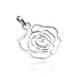 Šperky eshop - Strieborný prívesok 925 - lesklá obrysová ruža Y22.19