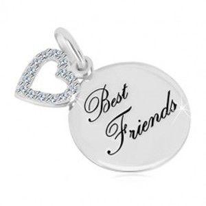 """Šperky eshop - Strieborný prívesok 925 - lesklý kruh, nápis """"Best Friends"""", kontúra srdca so zirkónmi AC17.08"""