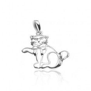Šperky eshop - Strieborný prívesok 925 - obrys mávajúcej mačky s mašľou X24.7