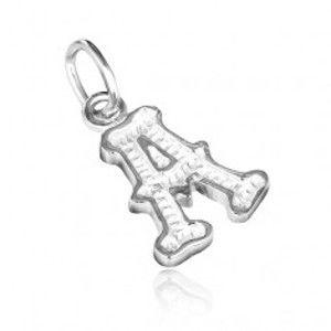 Šperky eshop - Strieborný prívesok 925 - písmeno A s dekoráciou X15.8