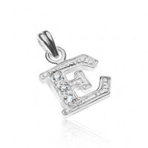 Šperky eshop - Strieborný prívesok 925 - tlačené trblietavé písmeno E, vsadené zirkóny X48.6