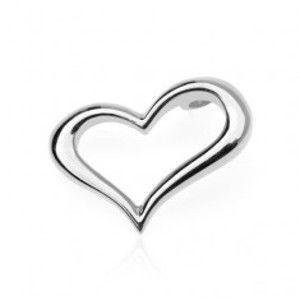 Šperky eshop - Strieborný prívesok 925 - zvlnené obrysové srdce, bočné uchytenie O14.13