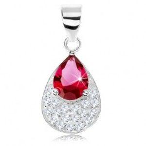 Šperky eshop - Strieborný prívesok 925, trblietavá zirkónová slza, vsadený brúsený zirkón SP77.23