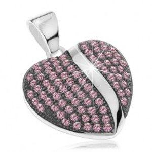 Šperky eshop - Strieborný prívesok 925, vypuklé patinované srdiečko s ružovými zirkónmi AC12.16