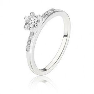 Šperky eshop - Strieborný prsteň 925 - okrúhly číry zirkón v kotlíku, zirkónové ramená BB09.03 - Veľkosť: 54 mm