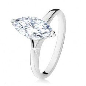 Šperky eshop - Strieborný prsteň 925, masívny zirkónový ovál v dekoratívnej objímke SP14.02 - Veľkosť: 50 mm