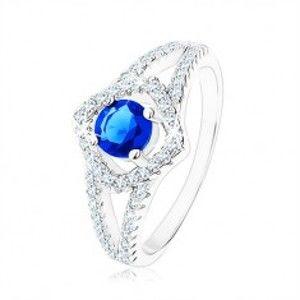 Šperky eshop - Strieborný prsteň 925, rozdvojené ramená, obrys štvorca, modrý zirkón HH7.19 - Veľkosť: 54 mm