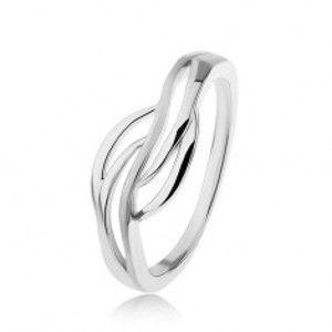 Šperky eshop - Strieborný prsteň 925, široký stred - hladké obrysy vĺn, vysoký lesk SP49.30 - Veľkosť: 53 mm
