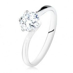 Šperky eshop - Strieborný zásnubný prsteň 925, okrúhly číry zirkón, úzke ramená SP10.26 - Veľkosť: 59 mm