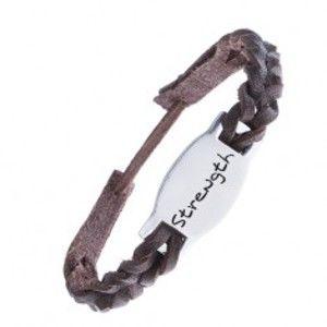 Šperky eshop - Tmavohnedý kožený náramok - pletený, známka STRENGTH Z12.12