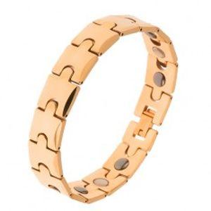 Šperky eshop - Tungstenový náramok, zlatá farba, motív puzzle, magnetické guličky  SP19.07
