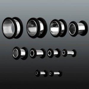 Šperky eshop - Tunnel do ucha z chirurgickej ocele s dvoma gumičkami C12.9 - Hrúbka: 4 mm