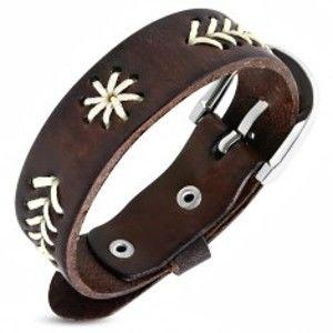Šperky eshop - Úzky náramok z kože - vyšívané stromčeky, hviezdička U14.19