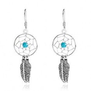 Šperky eshop - Visiace náušnice, striebro 925, svetlomodrá korálka, lapač snov, 15 mm I28.02