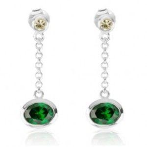 Šperky eshop - Visiace náušnice zo striebra 925, žltý a smaragdovo zelený zirkón, retiazka SP48.24