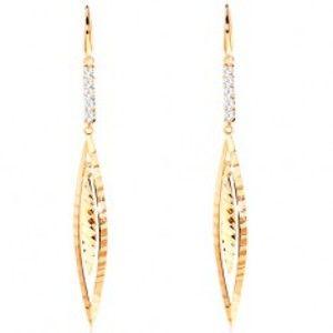 Šperky eshop - Visiace náušnice zo žltého 14K zlata - línia čírych zirkónov, úzke zrnko GG104.37