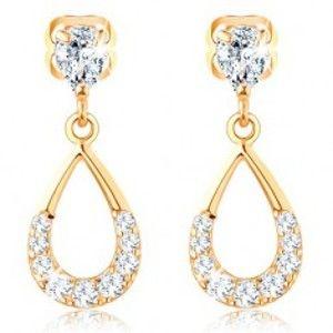 Šperky eshop - Visiace zlaté náušnice 375 - lesklá kontúra slzy, zirkónový oblúk GG31.30