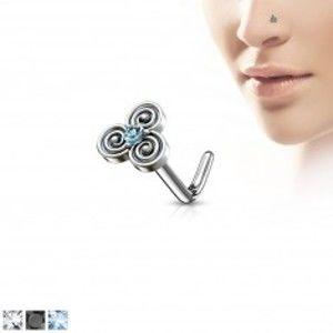 Šperky eshop - Zahnutý oceľový piercing do nosa s keltským motívom, zirkónik v strede W17.32/35 - Hrúbka piercingu: 0,8 mm, Farba zirkónu: Číra - C